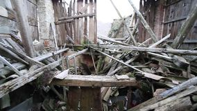 Ruins of the House destroyed by  earthquake stock footage