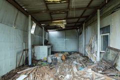 Ruins house Dirty room. stock photos