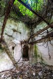 Ruins of house in forest. Ruined building in Mili gorge at Crete island, Greece stock photography