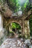Ruins of house in forest. Ruined building in Mili gorge at Crete island, Greece stock photos