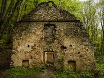 The ruins of house in the forest, the walls of the old building. The ruins of house in the forest, the walls of the old depopulated building stock photos