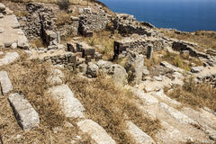 Ruins of House of Tyche, Ancient Thira, Santorini Royalty Free Stock Image