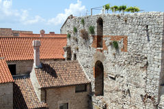Ruins and houses Royalty Free Stock Photos