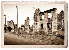 Ruins of houses destroyed. By bombardment Royalty Free Stock Photo