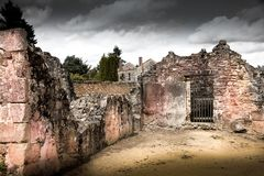 Ruins of houses destroyed by bombardment. In the second world war Royalty Free Stock Image