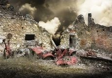 Ruins of houses destroyed by bombardment. In the second world war Royalty Free Stock Photos