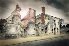 Ruins of houses destroyed by bombardment. In the second world war Stock Photo