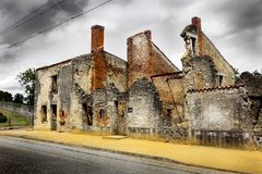 Ruins of houses destroyed by bombardment. In the second world war Royalty Free Stock Photo