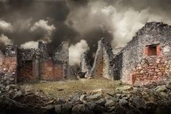 Ruins of houses destroyed by bombardment. In the second world war Stock Images