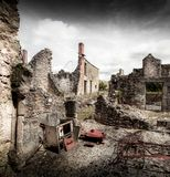 Ruins of houses destroyed by bombardment. In the second world war Stock Photography
