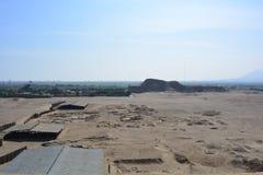 Ruins of the Huaca de la Luna, in Trujillo, Peru. Ancient ruins of the Huaca de la Luna Temple/Shrine of the Moon pyramid Royalty Free Stock Images