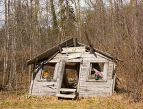 A whimsical tumbledown shack in alaska. Ruins with a humorous twist as seen at haines Royalty Free Stock Photo