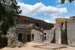 Ruins of Imperial Castle in Duesseldorf stock images