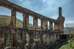The ruins of the imperial fortress impregnable Beilstein, German. Beilstein is located on the Moselle River. This tiny town of wine called Sleeping Beauty on the Royalty Free Stock Photos
