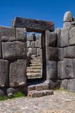 Ruins of the Inca Complex Known as Sacsayhuaman stock image