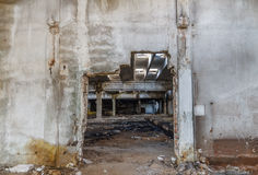 Ruins of industrial enterprise buildings abandoned or destroyed Stock Image
