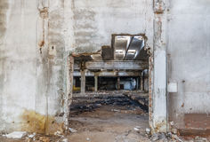 Ruins of industrial enterprise buildings abandoned or destroyed. Stock Photos