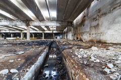 Ruins of industrial enterprise buildings abandoned or destroyed. Royalty Free Stock Image