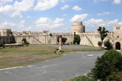 Ruins in the inner courtyard of Yedikule Fortress Royalty Free Stock Image
