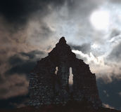 ruins in ireland scene. Ancient ruins on a dark night Royalty Free Stock Photos