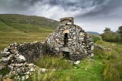 Ruins of an Irish Famine Cottage stock image