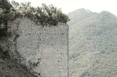 Ruins of an italian medieval fortress stock images