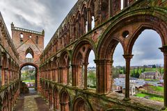 Ruins of Jedburgh Abbey in the Scottish Borders region in Scotla Royalty Free Stock Photography