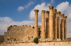 Ruins of Jerash. Remainings of a roman temple in the ancient town of Jerash Stock Image