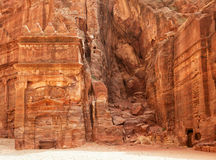 Ruins of Jordanian ancient city of Petra Stock Photo