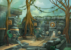 Ruins, jungle illustration. Ruins, jungle vector illustration background Stock Photo