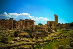 Ruins of Jupiter and Bacchus temples and great court of Heliopolis in Baalbek, Bekaa valley Lebanon. Ruins of Jupiter and Bacchus temples and great court of Stock Image