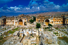 Ruins of Jupiter temple and great court of Heliopolis in Baalbek, Bekaa valley, Lebanon Royalty Free Stock Images