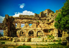 Ruins of Jupiter temple and great court of Heliopolis in Baalbek, Bekaa valley, Lebanon Stock Images