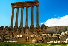 Ruins of Jupiter temple and great court of Heliopolis in Baalbek, Bekaa valley, Lebanon Stock Image