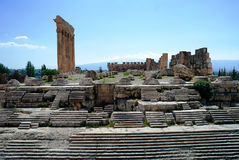 Ruins of Jupiter temple and great court of Heliopolis in Baalbek, Bekaa valley Lebanon Stock Photo