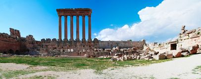 Ruins of Jupiter temple and great court of Heliopolis, Baalbek, Bekaa valley Lebanon Stock Image