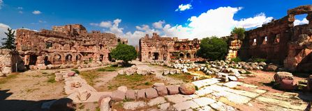 Ruins of Jupiter temple and great court of Heliopolis, Baalbek, Bekaa valley Lebanon Royalty Free Stock Photo