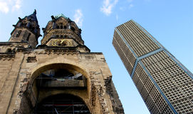 Ruins of Kaiser Wilhelm & Memorial Church, Berlin. Ruins of Kaiser Wilhelm Memorial Church in Berlin destroyed by Allied bombing and preserved as memorial Royalty Free Stock Images