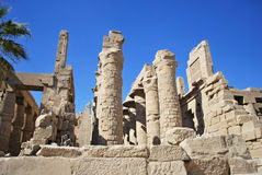 The ruins of Karnak temple in Luxor, Egypt. The ruins of colonnade in Karnak temple in Luxor, Egypt Royalty Free Stock Photos