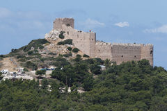 The ruins of Kastellos castle in Rhodes Royalty Free Stock Photography