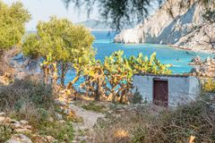 Ruins in Kastro, old metropolis of Skiathos. From distance its features resemble a face, 2018 royalty free stock photos