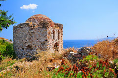 Ruins in Kastro, old metropolis of Skiathos, Stock Photo