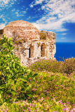 Ruins in Kastro, old metropolis of Skiathos Island Stock Image
