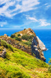 Ruins in Kastro, old metropolis of Skiathos Island royalty free stock images