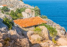 Ruins in Kastro, old metropolis of Skiathos. From distance its features resemble a face, 2018 stock photography