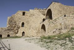 Ruins of the Kerak Castle, a large crusader castle in Kerak Al stock photo