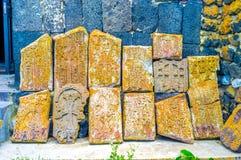 The ruins of khachkars Stock Photos
