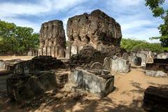 The ruins of King Parakramabahu's Palace Vejayanta Prasada at Polonnaruwa, Sri Lanka. Royalty Free Stock Images