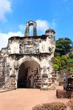 Ruins of Kota A Famosa - portuguese fortress in Malacca, Malaysi royalty free stock photo