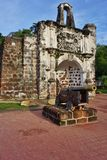 Ruins of the Kota A Famosa Portuguese Fortress in Malacca Royalty Free Stock Photo